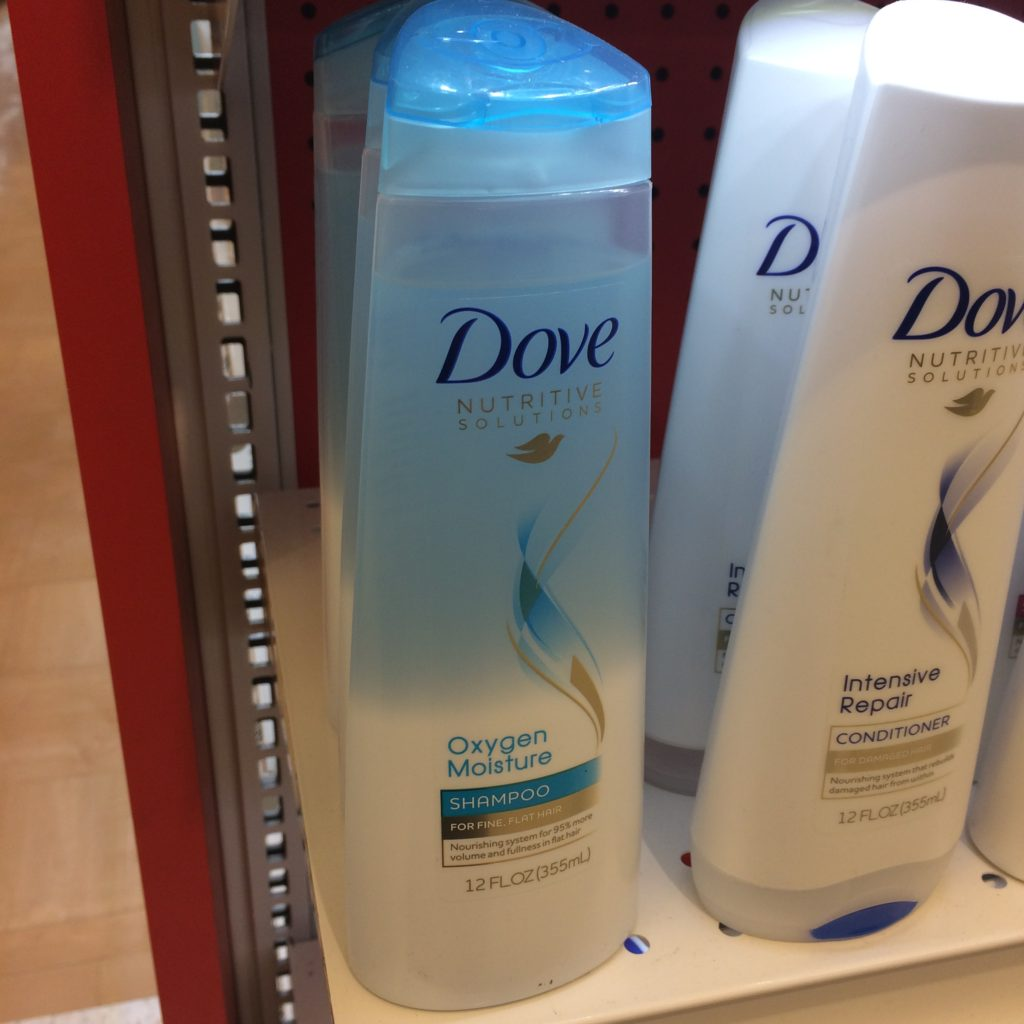 Dove shampoo bottles