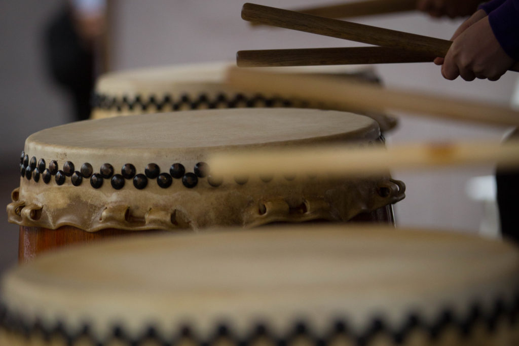 My hands playing taiko - see the byo pattern? Photo by Bruce Hollywood, April 2016