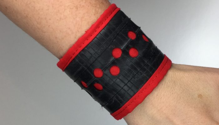 Bracelet or Cuff made from recycled inner tube or bicycle tyre tube by Trashmagination