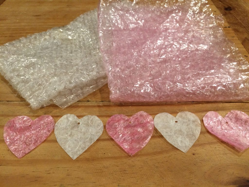 Ironed bubble wrap heart ornaments