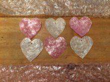 Ironed bubble wrap heart ornaments