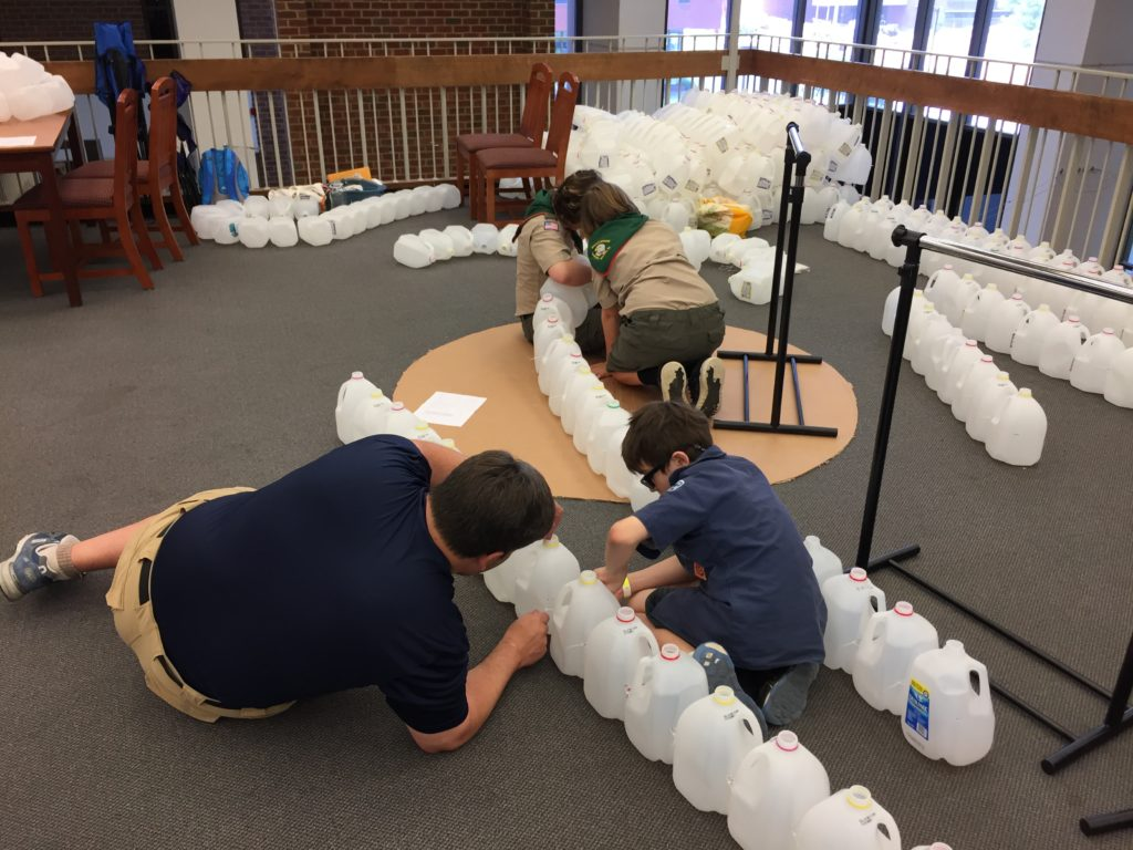 Scouts building the Jugloo at the Maker Faire NoVa