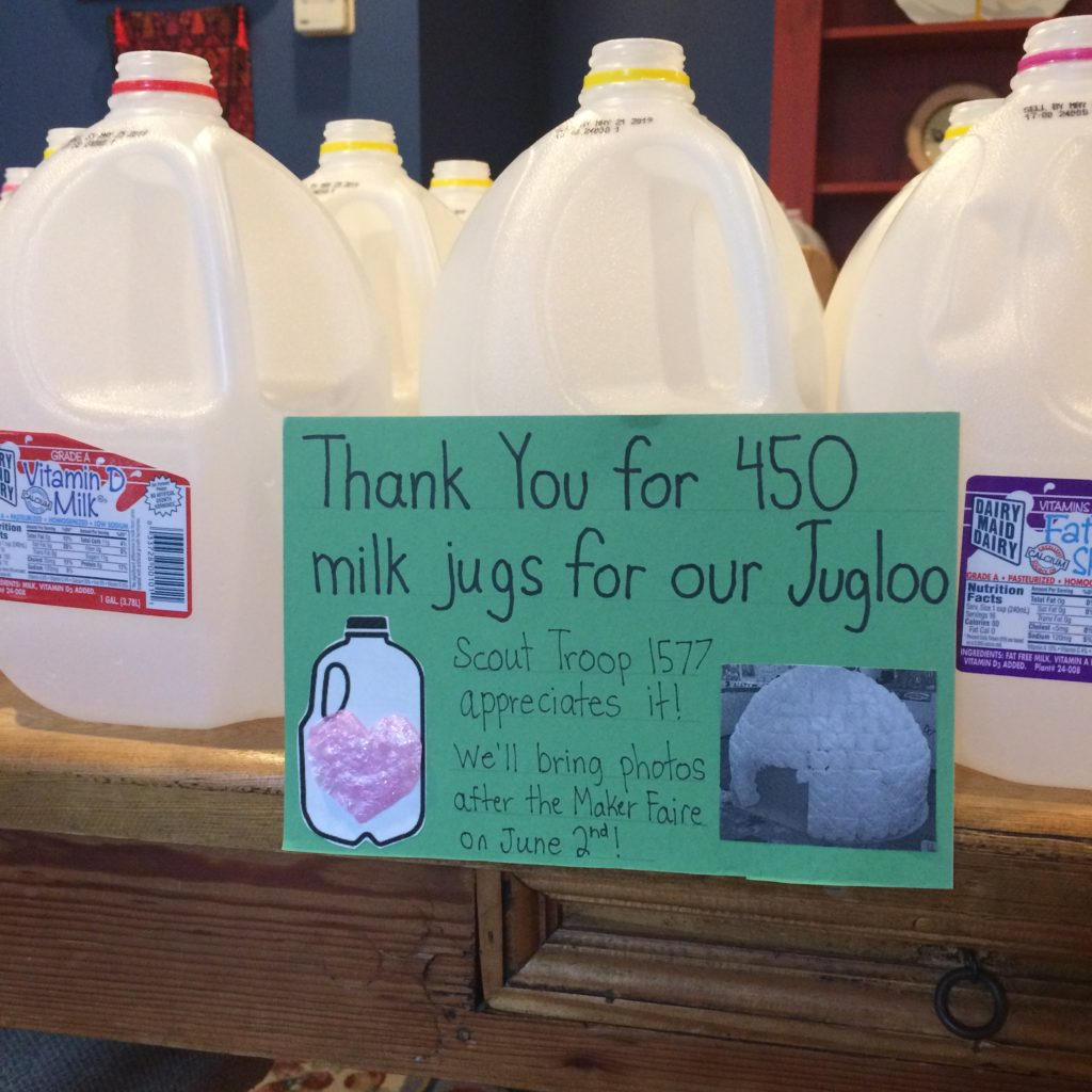 Thank you sign to Starbucks at North Point Shopping plaza for collecting plastic jugs for our project