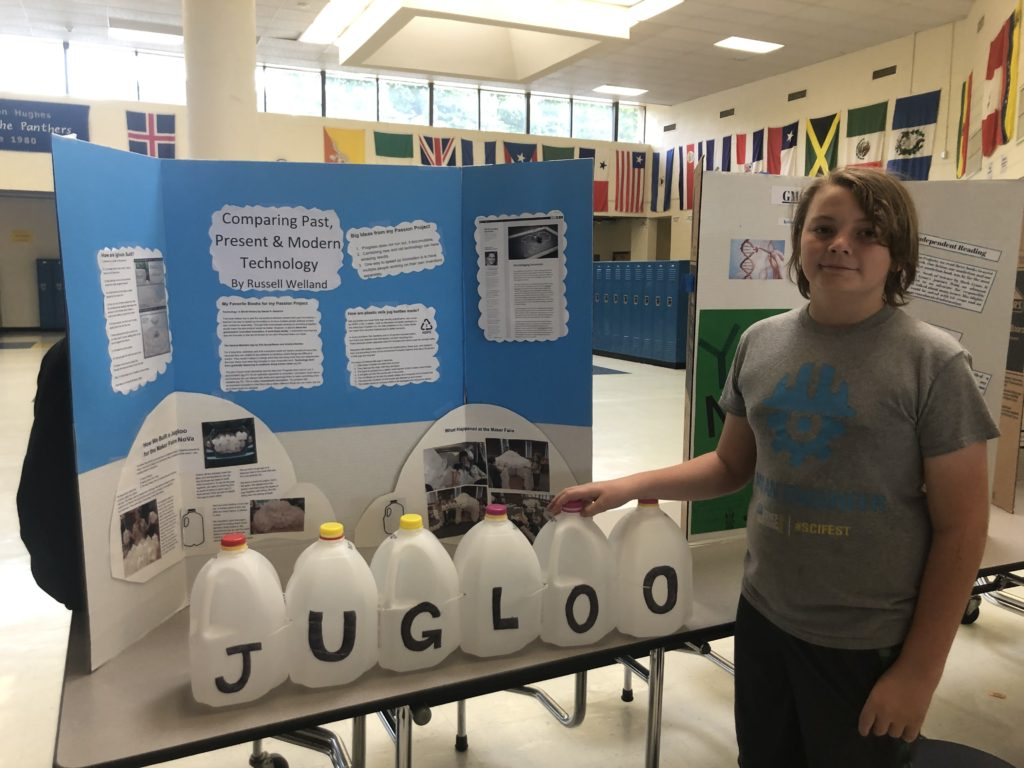 """My son talking about the Jugloo at school during their """"Passion Project"""" day"""
