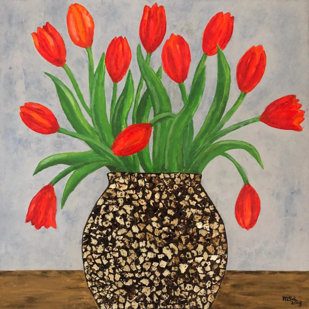 Painting with Quail Eggshell Vase by Mirjam Storm van Leeuwen