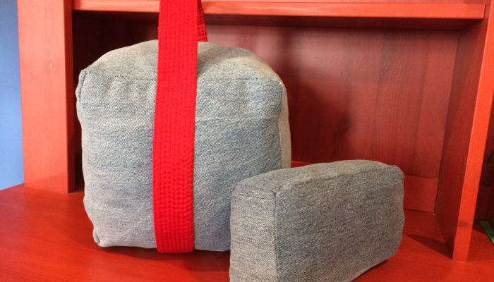 Medicine Ball / Kettle Bell and Yoga Block from Denim Fabric Scraps