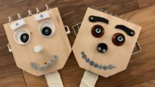 """Puppets made by my nephew and brother from recycled materials - named """"Kevin"""" and """"Frank"""""""