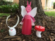 Fairy, bunny and mushroom made from recycled plastic caps